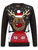 Rudolph Crew Neck Christmas Jumper In Black / Castlerock - Merry Christmas-L